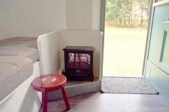 Glamping, Electric Fire at Little Oak Camping, Nottinghamshire